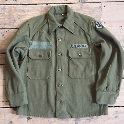 Usa American Army Shirt 1970s All Original Green Two Pocket US Army
