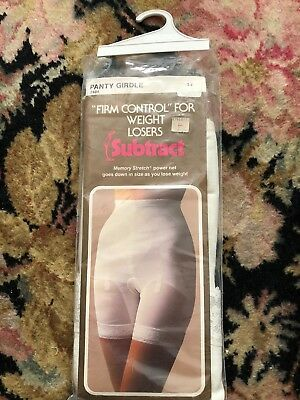 Vintage GIRDLE Original Package SUBTRACT Girdle Memory Stretch Open Crotch Sz 32