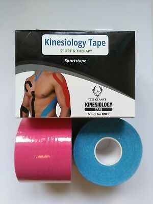 Sports Kinesiology Tape Physio Muscle Sports Pain Relief K tape 5cmx5m x 2 Rolls