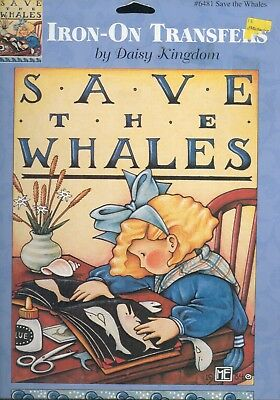 Save the Whales Daisy Kingdom Iron on Transfer Mary Engelbreit 1990 Collectible