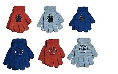 Baby Boys Toddler Children Kids Acrylic Winter Gloves With ABS Size 3 to 9 Years