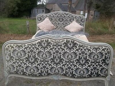 FRENCH vintage PRETTY  CARVED PAINTED FRAME  DOUBLE LOUIS XV STYLE BED