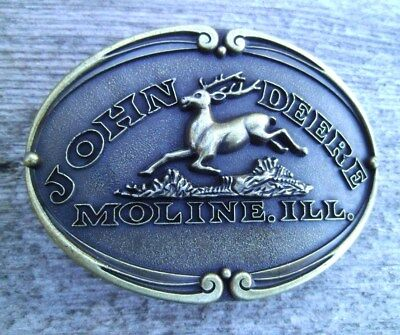 John Deere Tractor Belt Buckle Jumping Deer Antique Bronze NEW