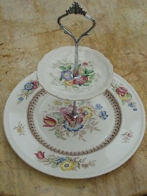 2 tier vintage china cake stand of Ducal/Royal Doulton posy china plates.