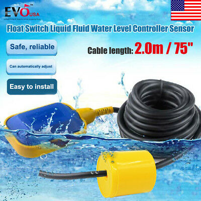 "Liquid Fluid Water Level Float Switch Sump Tank Controller Sensor W/ 75"" Cable"
