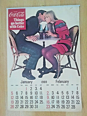 Vintage 1969  Coca-Cola Things go Better With Coke Calendar - Complete