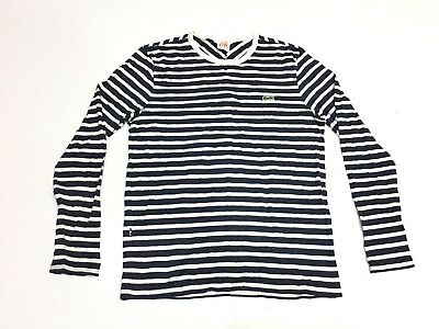 Lacoste Live Striped Long Sleeve T-Shirt Dark Blue And White Size 4