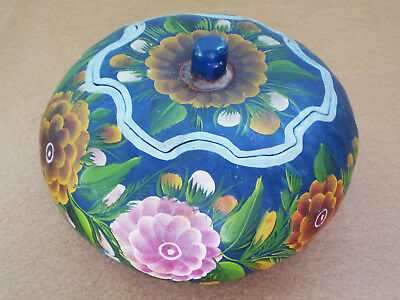 Vintage Mexican Folk Art OLINALA Hand Painted Floral Lacquered GOURD BOX Blue