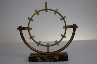 ART DECO CLOCK CASE sculptural design in gilt brass and marble