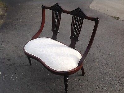 Antique Edwardian Mahogany Window Seat