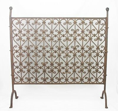 Antique Arts Crafts Hand Wrought Iron Fireplace Screen