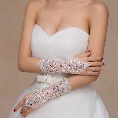 Women Rhinestone Flower Fingerless Gloves Bridal Wedding Dress Accessories USA