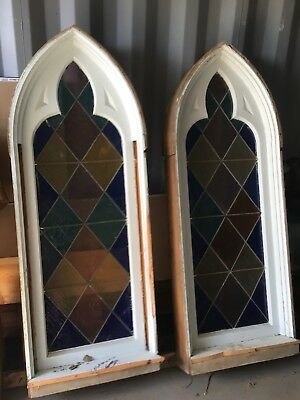 Gothic Style Multicolored Stain Glass Window From Lutheran Church