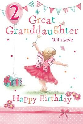 GREAT GRANDDAUGHTER 2nd BIRTHDAY CARD AGE 2 QUALITY BEAUTIFUL VERSE