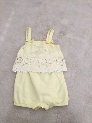 Monsoon yellow playsuit aged 12-18months girls