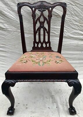 18Th C Mahogany Chippendale Heavily Carved Gothic Antique Side Chair
