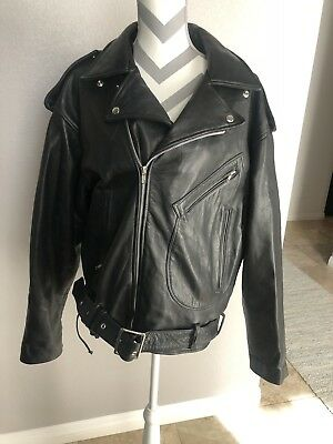 Vintage MICHAEL HOBAN NORTH BEACH LEATHER JACKET (Sz 44) Biker Look