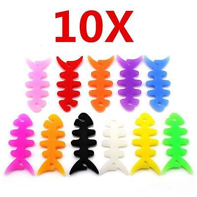 10*New Fish Bone Earphone Cable Winder Headphone Cord Wire Wrap Holder Organizer