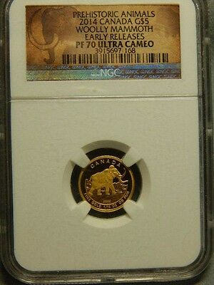 2014 Canada Gold NGC PF70 Early Releases $5 1/10th oz Woolly Mammoth....RC1574