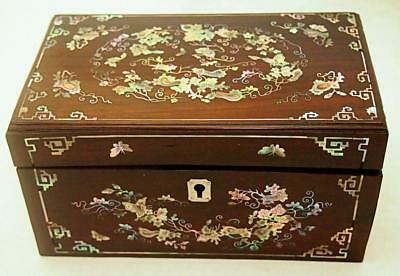 Very Fine Rare Old Chinese Qing Mother Of Pearl Shell Inlaid Hardwood Box