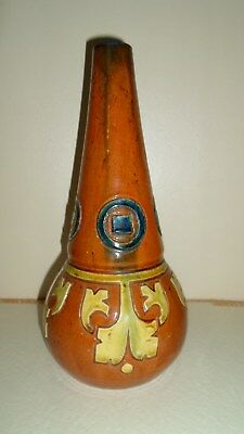 Middle Eastern Islamic Or Native American Glazed Pottery Bottle Incised Motifs