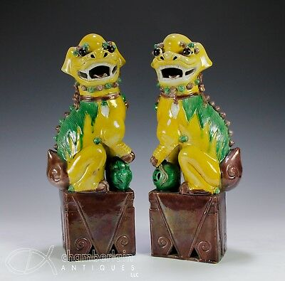 Pair Of Large Antique Chinese Porcelain Foo Dog Statues