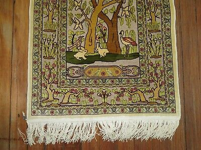 Fine Turkish Signed Hereke Silk & Metal Rug Size 2'x4'