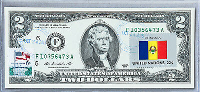 National Currency Note Federal Reserve Bank US Two Dollar Bill Unc Flag Romania
