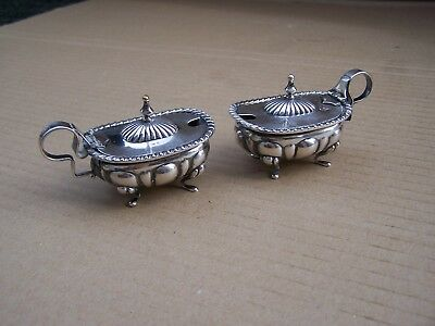 Two 800 Silver Mustard Pots With Glass Liners Very Nice Condition