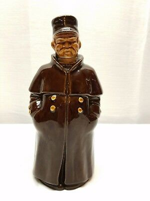 Vintage Figural Decanter Whiskey Bottle Brown Pottery Man Trench Coat Redware