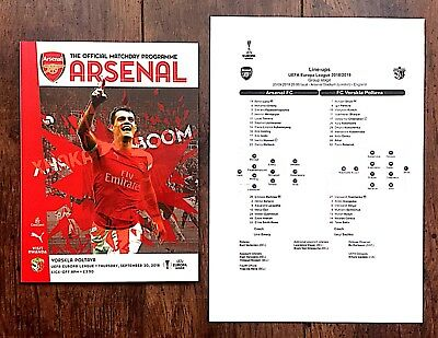 ARSENAL v VORSKLA  EUROPA LEAGUE PROGRAMME  WITH TEAM SHEET 20th September 2018