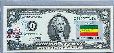 National Currency Note US Dollar Bills $2 2003 Unc Federal Reserve Flag Ethiopia