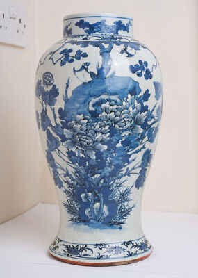 Large Antique Chinese Blue and White Vase Prunus Blossom Peony Birds Butterflies