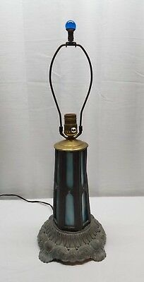 Vintage Antique Stained Slag Glass Lamp Light Metal Pewter Blue Cobalt Finial