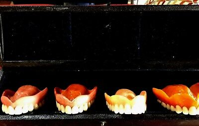 Antique Dental Dentures Lot Of 4: Display From Vulcanite To Acrylic W/ Case Art