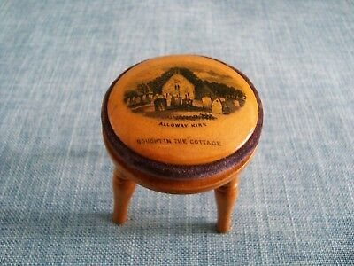 Vintage Mauchline Ware Pincushion. '' In the form of a stool.''