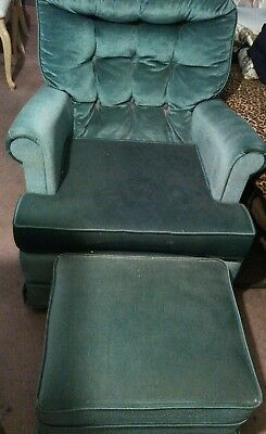 Antique Vintage Green Velvet Swivel Chair and Ottoman