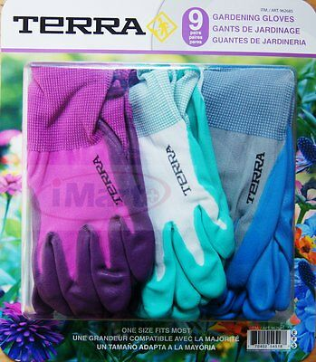 9 Pairs Terra Gardening Garden Ladies Womens Gloves Glove Nitrile Coated new