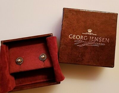 Antique RARE Early 1900s Georg Jensen Sterling Silver Moon Blossom Earrings 10mm