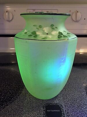 "Uranium Glass-Painted & Frosted Vase-Beautiful Glow-8.5""Hx5.5""D!"