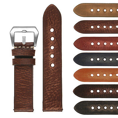 StrapsCo Vintage Washed Mens Thick Leather Watch Band - Quick Release Strap