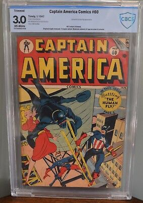 Cbcs 3.0 Restored Captain America #60 (Timely, 1947) Catman & Human Fly