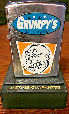 1997 Zippo Lighter Brushed Chrome.. Grumpy's Bar And Grill/ Flame Rite NOS
