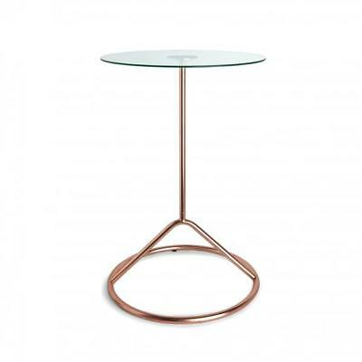 New Umbra Loop Copper & Tempered Glass Top Side End Lamp Table Living Room Decor