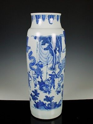 IMPORTANT ANTIQUE CHINESE BLUE AND WHITE TRANSITIONAL SLEEVE VASE - c. 1640
