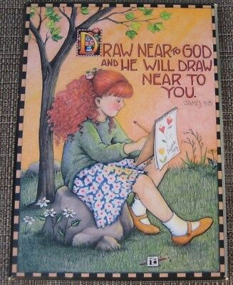 Vintage Mary Engelbreit Colorplak Me137 Draw Near To God & He Will Plaque Sign
