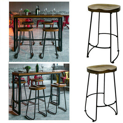 2/4Pc Gavin Bar Stools Kitchen Dining Room Chair Solid Mango Wooden Tractor Seat