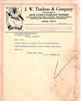 Aunt Lydia's Wash-Day Wonder Letter May 1924 Ambler PA. J.W. Timbers Co.Tampa Fl