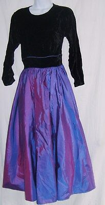 Jr's Brass Plum Size 7 Vintage Black Velvet & Purple Taffeta Witch/Sorceress Hal