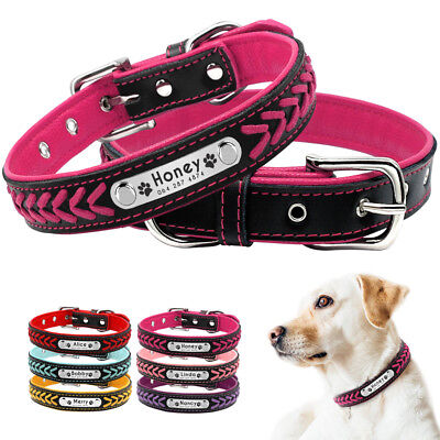 Braided Personalized Dog Collar Small Medium Large Pet Dogs ID Name Tags Collar